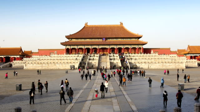 time lapse of people in forbidden city, bejing, china. - forbidden city stock videos & royalty-free footage