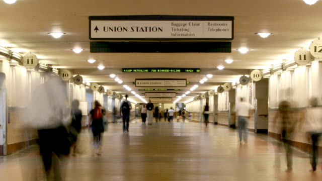 time lapse of people walking in train station - union station los angeles stock videos & royalty-free footage