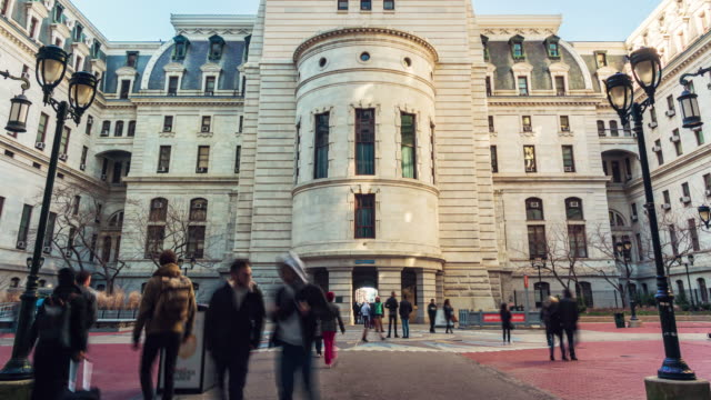 time lapse of philadelphia city hall with pedestrian - independence hall stock videos & royalty-free footage
