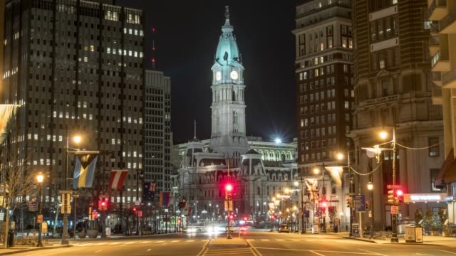 4k time lapse of philadelphia's landmark historic city hall building at nighttime with car traffic light, united states of america or usa, history and culture for travel concept - independence hall stock videos and b-roll footage