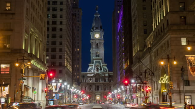 4k time lapse of philadelphia's landmark historic city hall building at twilight time with car traffic light, united states of america or usa, history and culture for travel concept - philadelphia pennsylvania stock videos & royalty-free footage