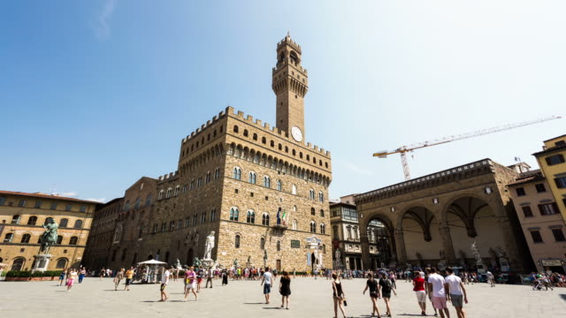 florence - circa 2013: time lapse of piazza signoria on a busy day of summer - 2013 stock videos & royalty-free footage