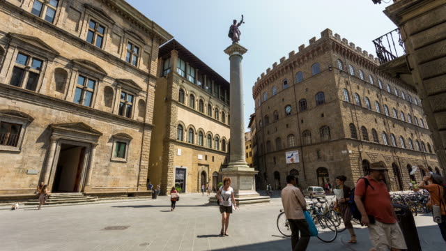 florence - circa 2013: time lapse of piazza st trinita on a busy day of summer - 2013 stock videos & royalty-free footage