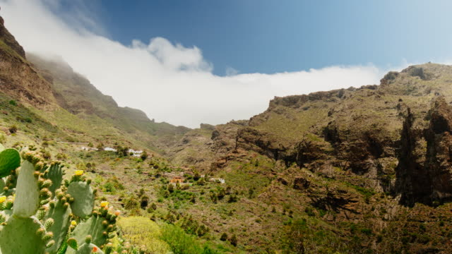 4k time lapse of picturesque small village of masca with landscape and endemic flora, tenerife north, canary islands, spain - atlantic islands stock videos & royalty-free footage