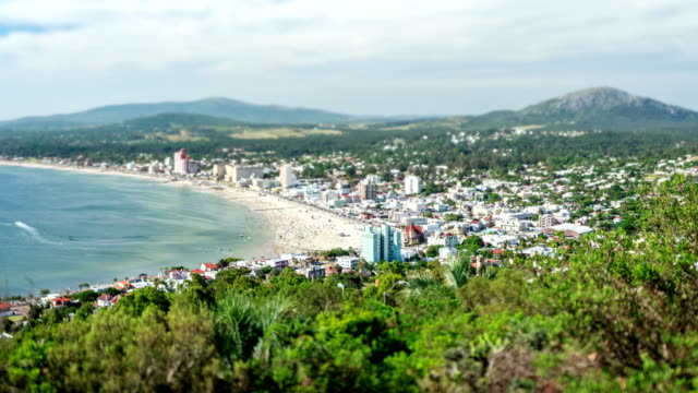 time lapse (tilt shift lens) of piriapolis city, maldonado, uruguay - uruguay stock-videos und b-roll-filmmaterial