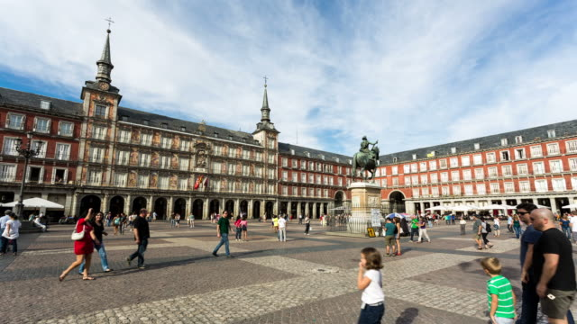 madrid - circa 2013: time lapse of plaza major during the day - 2013 stock videos & royalty-free footage