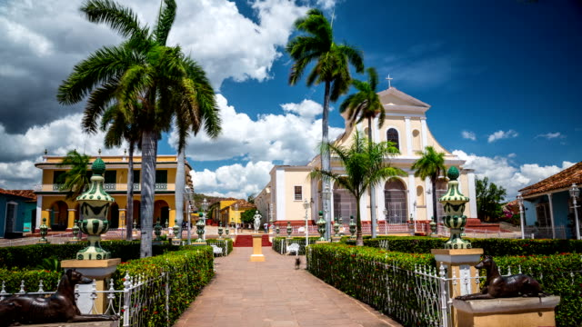 time lapse of plaza mayor in trinidad cuba - cuba stock videos and b-roll footage