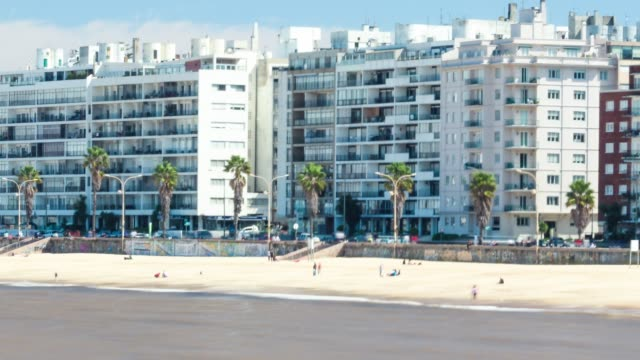 time lapse of pocitos beach, montevideo, uruguay - montevideo stock videos & royalty-free footage
