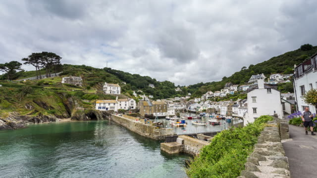 cornwall - circa 2013: time lapse of polperro in a cloudy morning of summer - cornwall england stock videos & royalty-free footage
