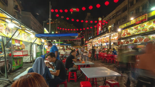 time - lapse of popular evening dining spot  kuala lumpur, malaysia - malaysia stock videos & royalty-free footage