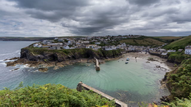 cornwall - circa 2013: time lapse of port isaac in a cloudy morning of summer  - 2013 stock videos & royalty-free footage