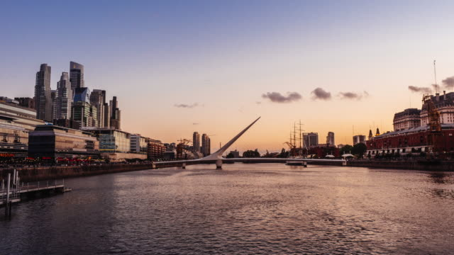 time lapse of puerto madero skyline in buenos aires at sunset - footbridge stock videos & royalty-free footage