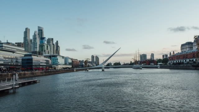 time lapse of puerto madero skyline in buenos aires at sunset - puerto madero stock videos & royalty-free footage