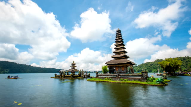 time lapse of pura ulu danau temple with cloud sky,bali,indonesia - pura ulu danau temple stock videos & royalty-free footage