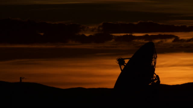 Time lapse of Radio dish at Very Large Array at Sunset