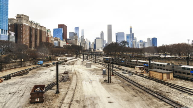 time lapse of railroad tracks in chicago - railroad track stock videos & royalty-free footage