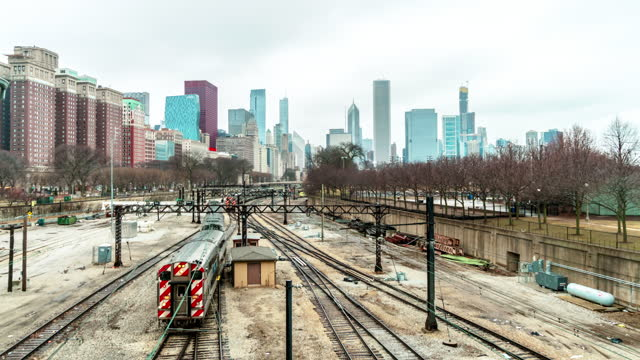time lapse of railroad tracks in chicago - chicago 'l' stock videos & royalty-free footage