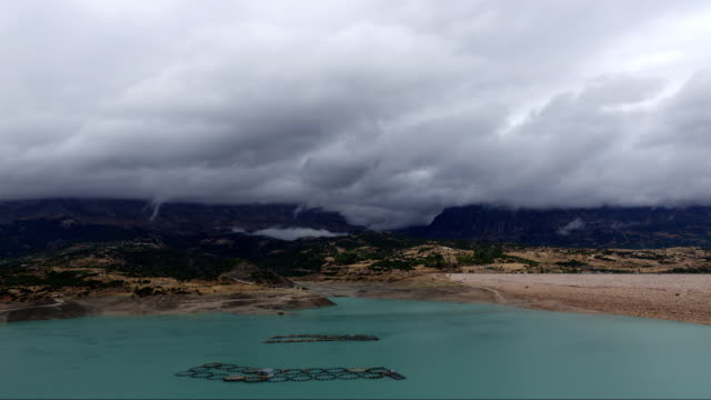 time lapse of rain clouds over the lake - rx stock videos & royalty-free footage