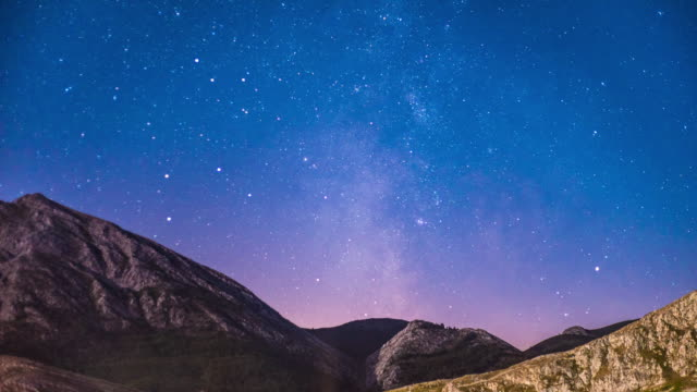 Time Lapse of Rain of Stars in a landscape of mountains and the milkyway in a summer night