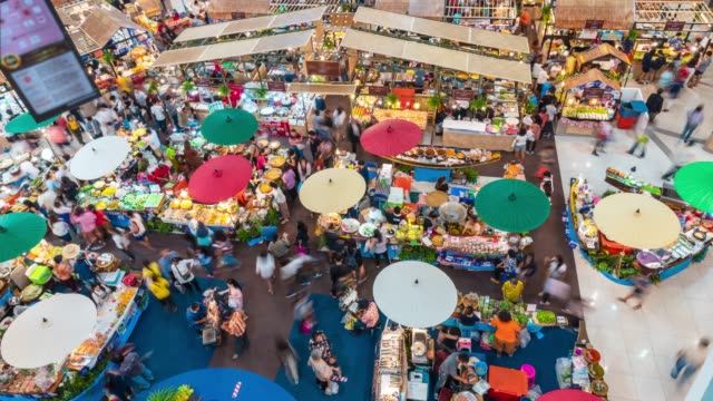 time lapse of retro market in shopping mall,aerial shot - tradeshow stock videos & royalty-free footage