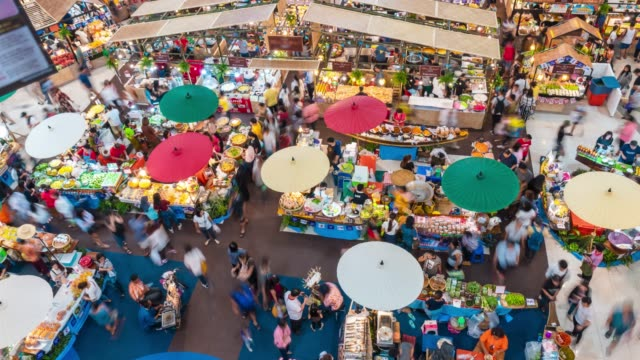 time lapse of retro market in shopping mall,aerial shot - antenna aerial stock videos & royalty-free footage