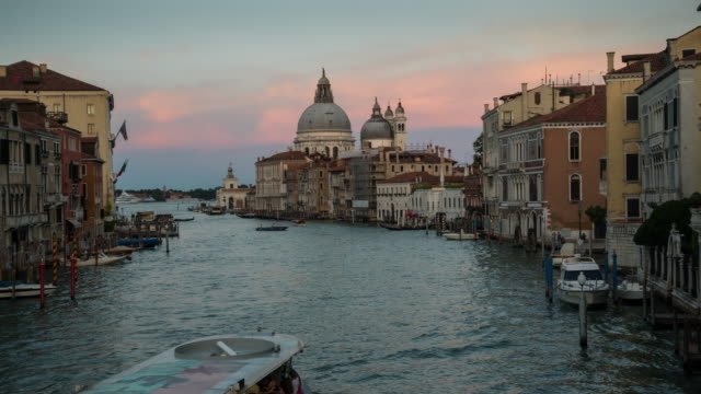 d2n time lapse of river traffic at grand canal, venice - venice italy stock videos and b-roll footage