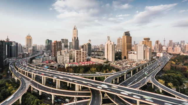 time lapse of road intersection in central Shanghai, elevated view