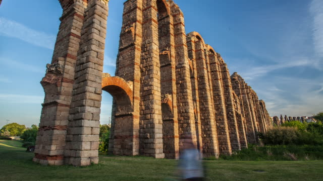 time lapse of roman monuments aqueduct - arch stock videos & royalty-free footage