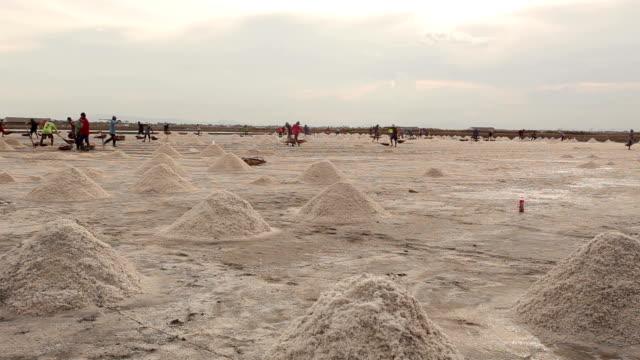 Tidsinställd salt jordbruk Naklua i den kustnära, Thailand