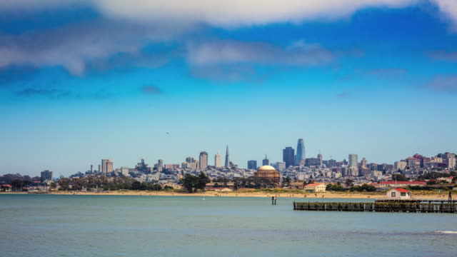 time lapse of san francisco skyline from bay - peninsula stock videos & royalty-free footage