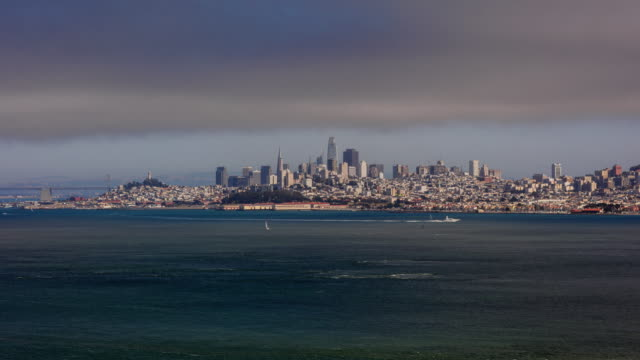 Time lapse of San Francisco skyline panorama from Bay on a cloudy day