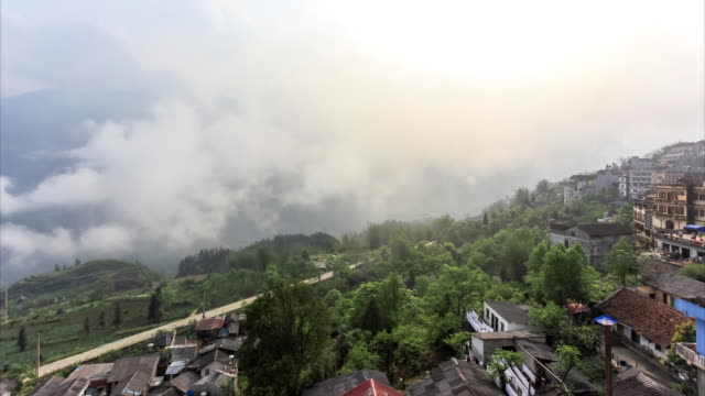 time lapse of sapa region landscapes, vietnam - sa pa stock videos and b-roll footage