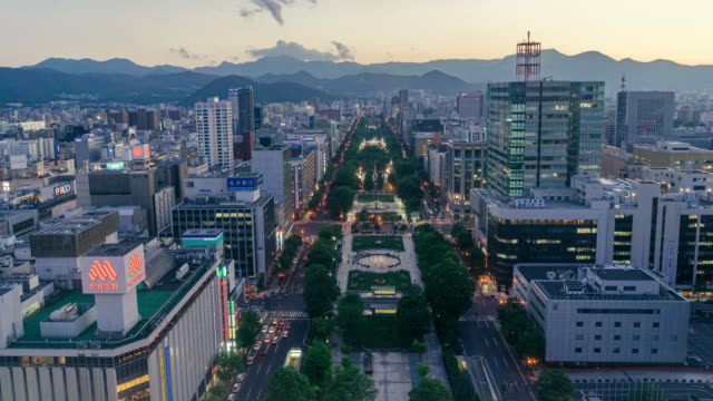 time lapse of sapporo in summer - liyao xie stock videos & royalty-free footage