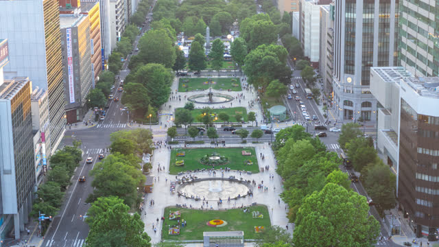 time lapse of sapporo odori public park in summer - liyao xie stock videos & royalty-free footage