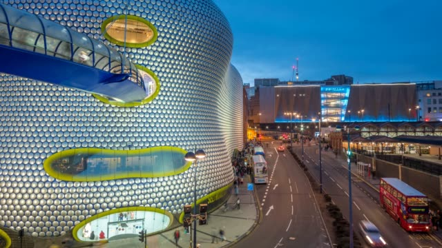 time lapse of selfridges at the bull ring at dusk, birmingham, england, united kingdom, europe - department store stock videos & royalty-free footage