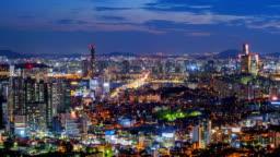 Time lapse of Seoul City Skyline,South Korea