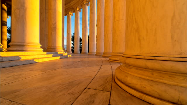 time lapse of sets of columns in the jefferson memorial in washington dc - government building stock videos & royalty-free footage