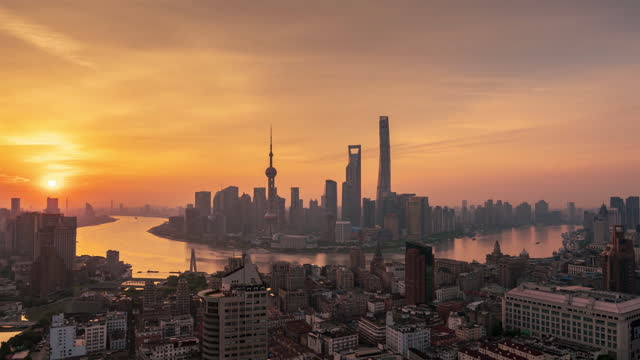 time lapse of shanghai at dawn - the bund stock videos & royalty-free footage