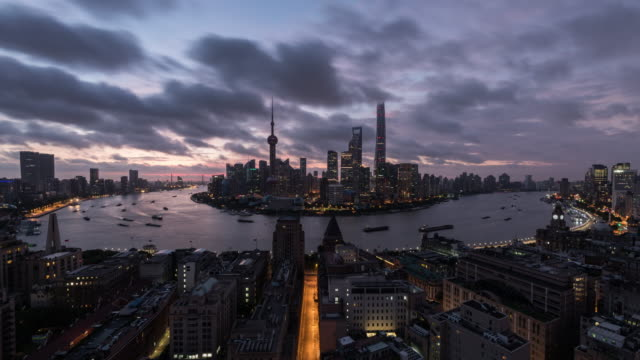 time lapse of shanghai lujiazui at dawn - on top of stock videos & royalty-free footage