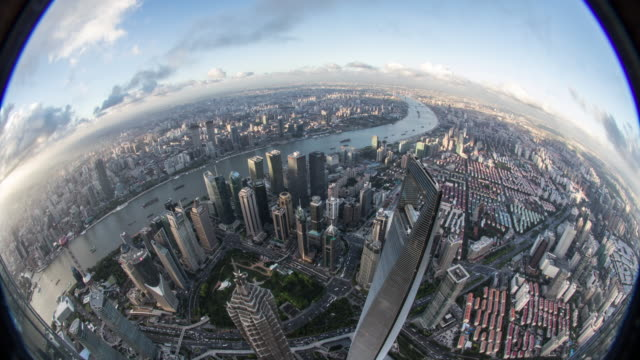 time lapse of shanghai lujiazui at dusk - wide angle stock videos & royalty-free footage