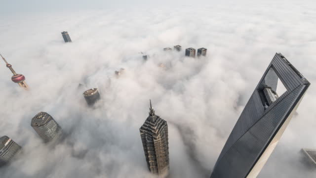 time lapse of shanghai lujiazui in clouds - lujiazui stock videos & royalty-free footage