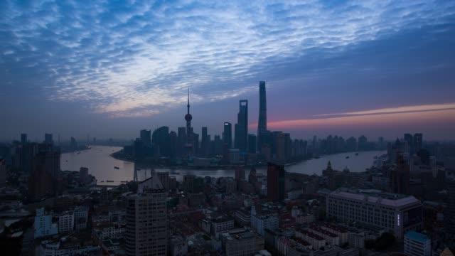 Lapso de tiempo de salida del sol de Shangai, (el Bund, Distrito Financiero Lujiazui)