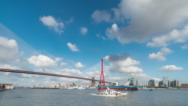 time lapse of shanghai yangpu bridge - tall high stock videos & royalty-free footage
