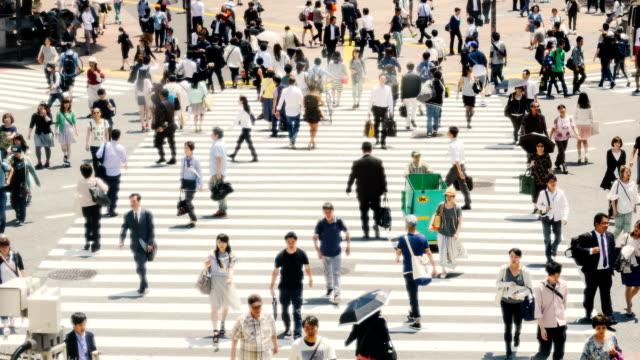 Zeitraffer der Kreuzung Shibuya in Tokio