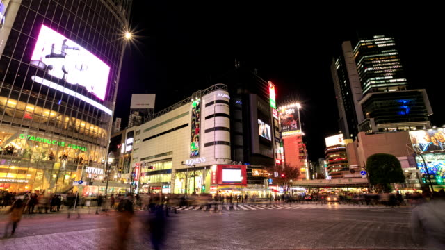時間の経過の渋谷スクランブル交差点 - タクシー点の映像素材/bロール