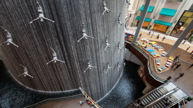 Time Lapse of shoppers and waterfall at Dubai Mall