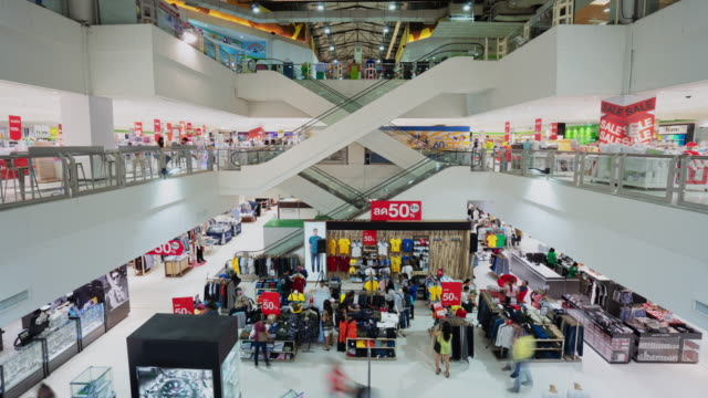 time lapse of shopping mall escalator - clothes shop stock videos & royalty-free footage