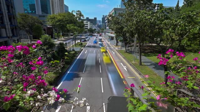 vídeos de stock e filmes b-roll de time lapse of singapore traffic the city. traffic signs, lights and trees around the street. - avenida