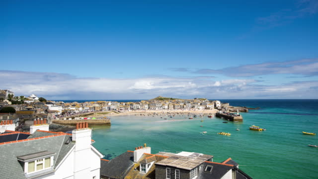 cornwall - circa 2013: time lapse of st. ives in sunny day of summer - 2013 stock videos & royalty-free footage