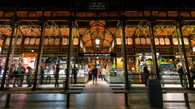 Time lapse of St Miguel market Madrid